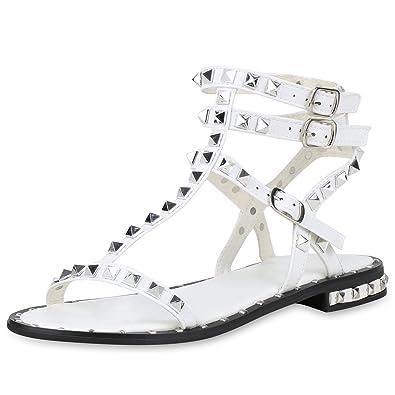 SCARPE VITA Damen Sandalen Römersandalen Nieten T-Strap Leder-Optik Schuhe  159755 Weiss 41  Amazon.de  Schuhe   Handtaschen 054671ff84
