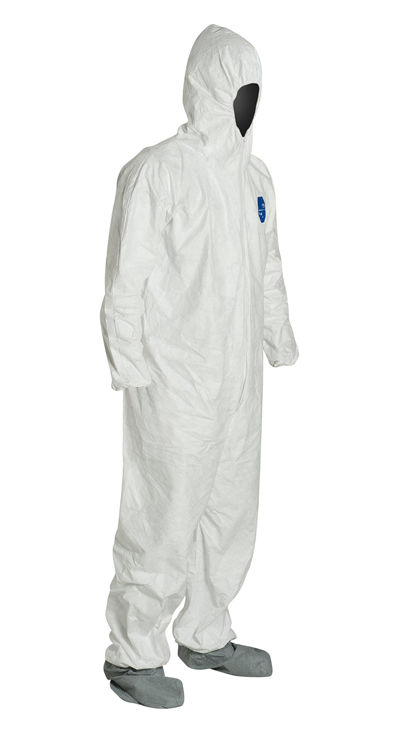 DuPont Tyvek 400 TY122S Disposable Protective Coverall with Elastic Cuffs, Attached Hood and Boots, White, 7X-Large (Pack of 25) by DuPont (Image #2)