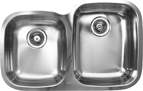 Ukinox D376.60.40.10R Modern Undermount Double Bowl Stainless Steel Kitchen Sink