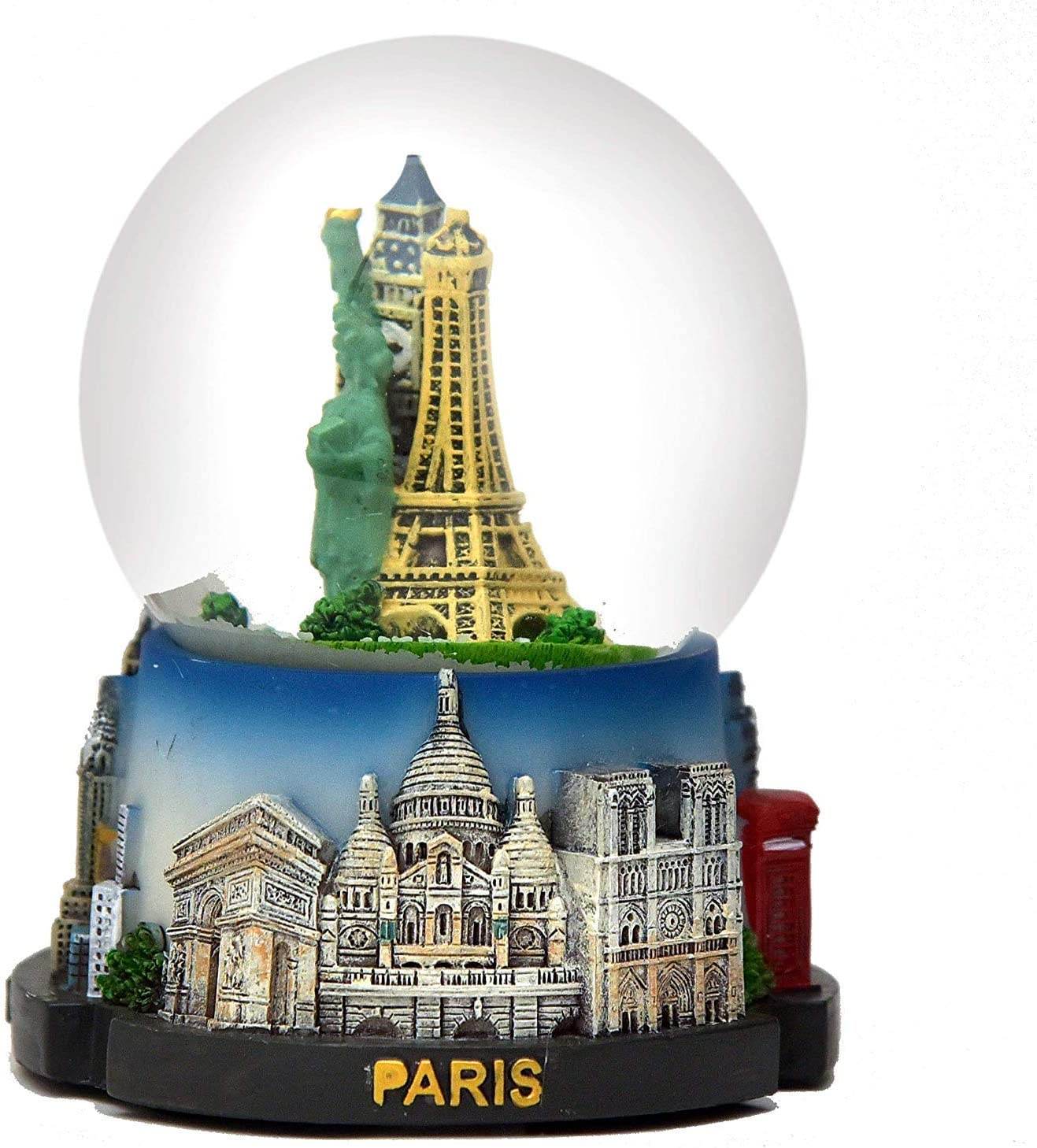 Paris - New York - London Snow Globe 65mm Eiffel Tower, Big Ben, Statue of Liberty