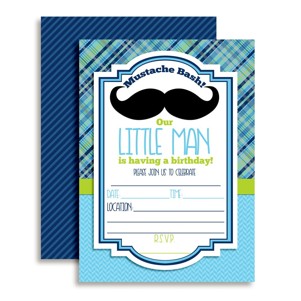 Mustache Bash Little Man Fill in Birthday Party Invitations, 20 5''x7'' Fill in Cards with Twenty White Envelopes by AmandaCreation