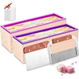 2pcs Silicone soap molds kit - 42 oz Flexible Rectangular Loaf Soap Mold kit Comes with Wood Box,Stainless Steel Wavy…