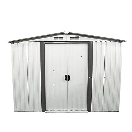 Outdoor Steel Toolsheds Storage Utility Garden Backyard Lawn Warm White 4x6 Storage Shed Ainfox 4X6 Storage Shed