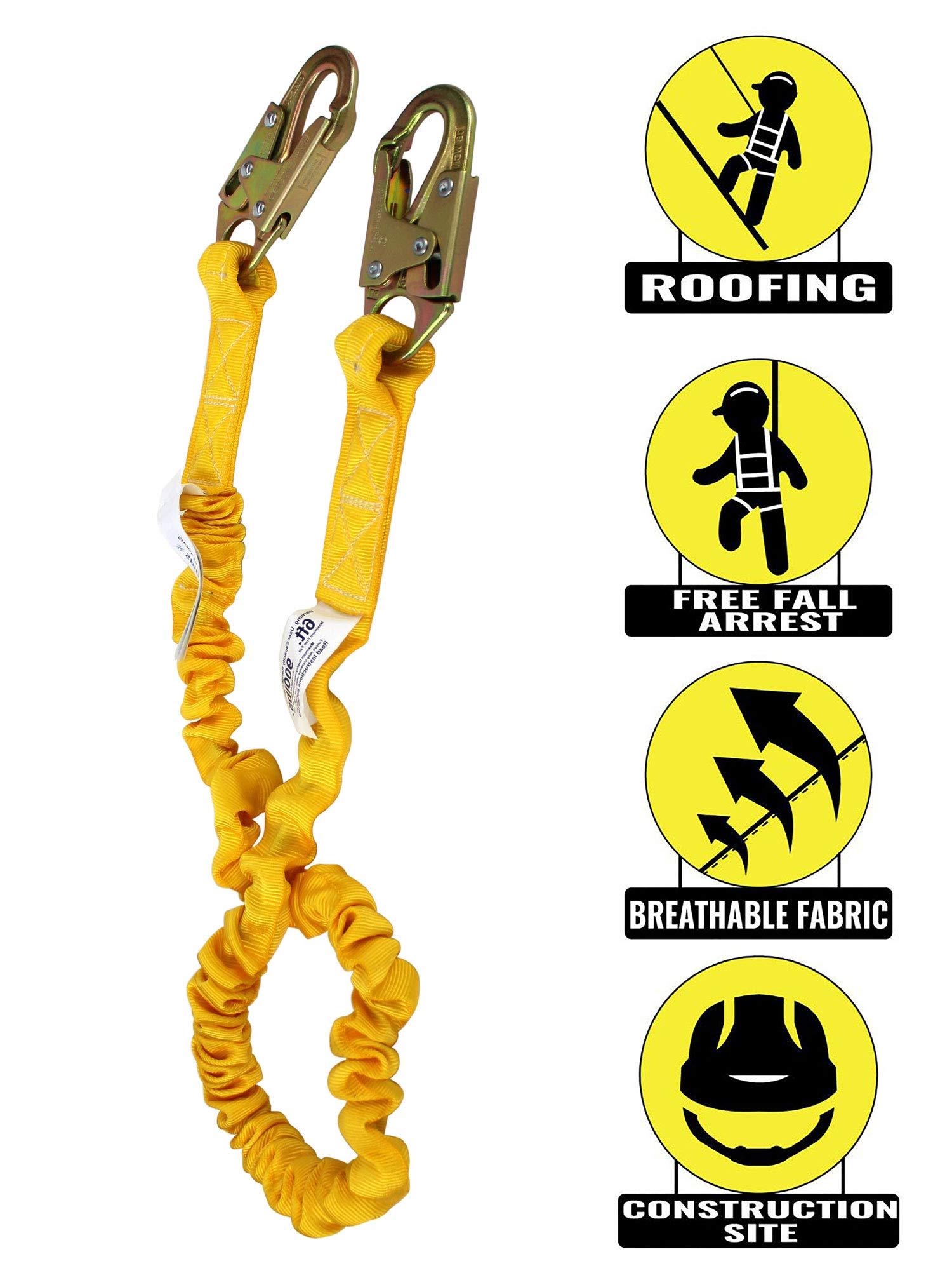 SPL-S102 Yellow Elasticated Internal Shock Absorbing Lanyard w/Two Steel Forged Snap Hook (N-3610) [1 pack]