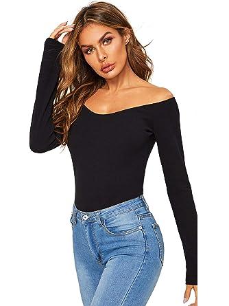 e5a71de6348 Verdusa Women's Off The Shoulder V Neck Long Sleeve Skinny Bodysuit