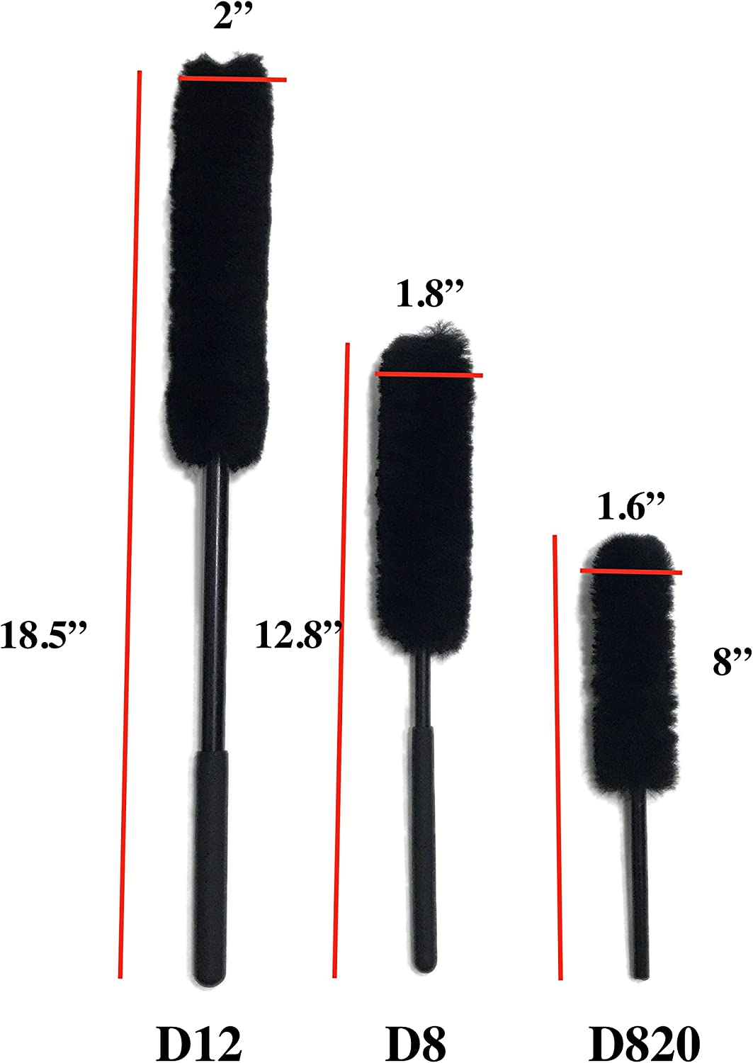 3 Brushes Dense Fibers Clean Wheels Safely Soft ,100/% Wool DUMI D12D8D820 Car Wheel Brushes Kit