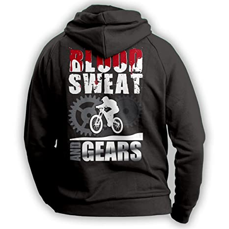"""Bicicleta de montaña sudadera con capucha """"sangre, sudor y engranajes"""" bicicleta de"""