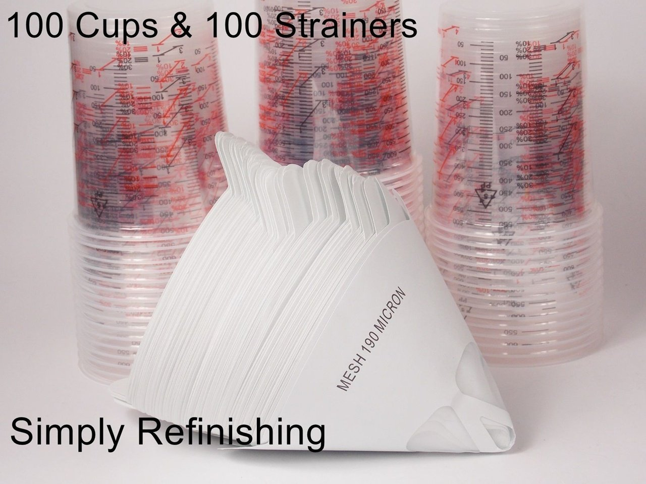 100 x calibrated paint mixing cups & 100 x 190 micron paint strainers pmf