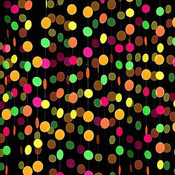 8 Piezas Guirnalda de Papel de Neón de Puntos Circulares Decoraciones Colgantes de Guirnaldas de Estrellas de Neón para Suministros de Fiesta de Cumpleaños Boda Negro Luz Reactivo UV Resplandor Fiesta: Amazon.es:
