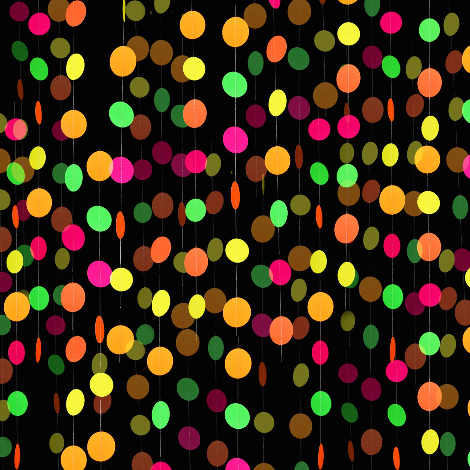 8 Pieces Neon Paper Garlands Circle Dots Banner Neon Circle Hanging Decorations for Birthday Wedding Black Light Party Supplies Reactive UV Glow Party by BBTO