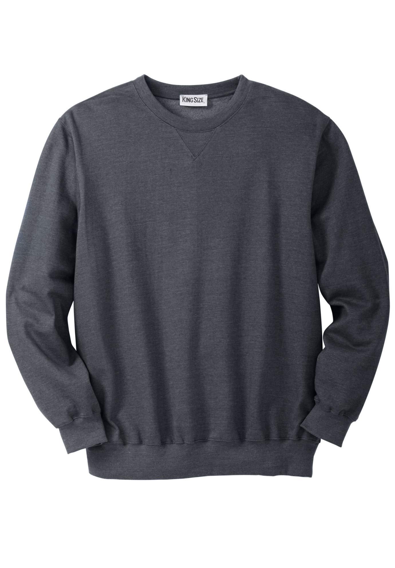 KingSize Men's Big & Tall Fleece Crewneck Sweatshirt, Heather Charcoal Big-3XL