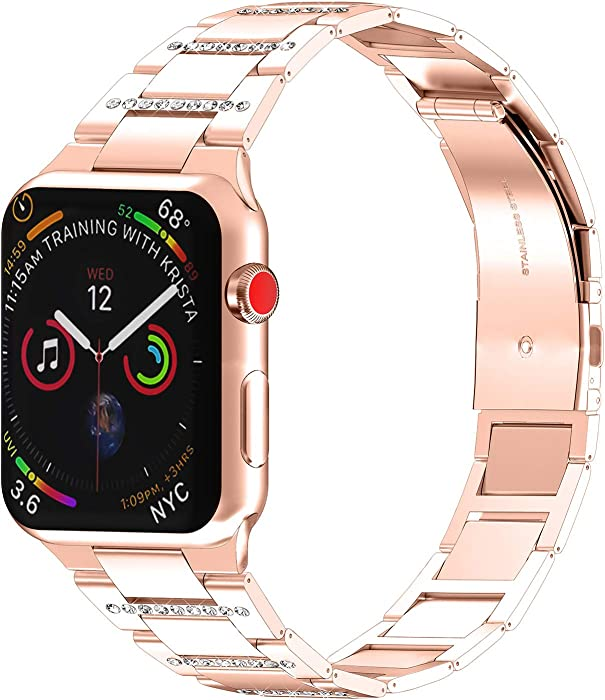 PUGO TOP Band Compatible with apple watch 40mm Series 6 5 4, Iphone Watch Band Iwatch Strap Wristband Ultra Thin Stainless Steel with Bling Rhinestones for Women(40mm, Rose Gold for Series 5/4)