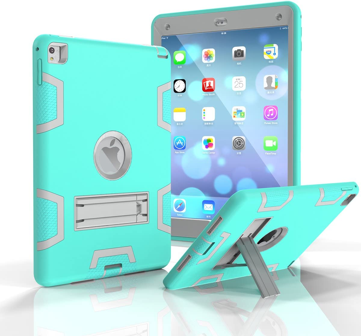 iPad Air 2 Case, Shock Absorption High Impact Resistant Hybrid Protective Case Cover for iPad Air 2 (T-Mint Green/Gray)