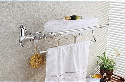 Barra de toalla de baño Organizador de almacenamiento de montaje en la pared para ahorrar espacio