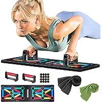 Push Up Rack Board, 9 in 1 Opdrukbeugels, Kleurgecodeerd, Body Building Stands Board, met 2 Zweetabsorberende Handdoeken…