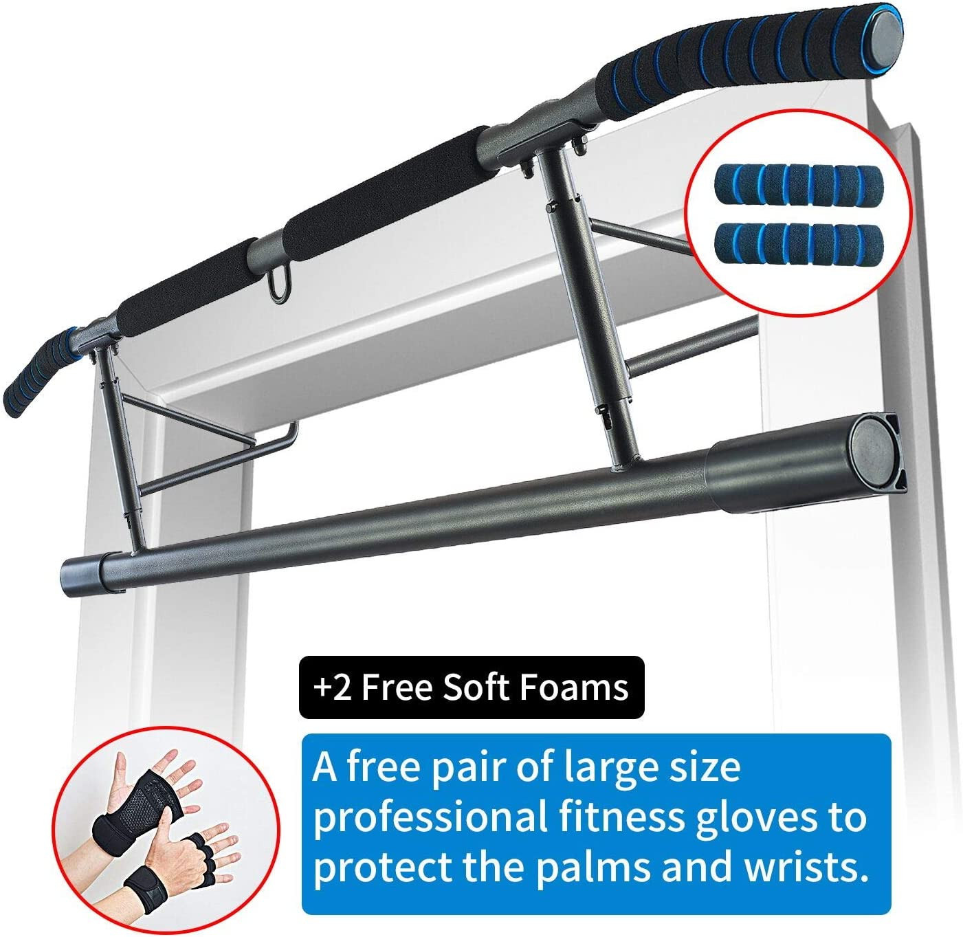 AnrayDiroct Pull Up Bar Chin Up Bar Doorway No Screw, Home Gym Fitness Bar with Wrist Wraps for Men Women
