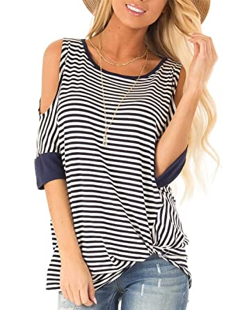 14a69599e8cd8e Womens Cold Shoulder T Shirts Front Twist Stripe Short Sleeve Round Neck  Loose Tops and Blouse