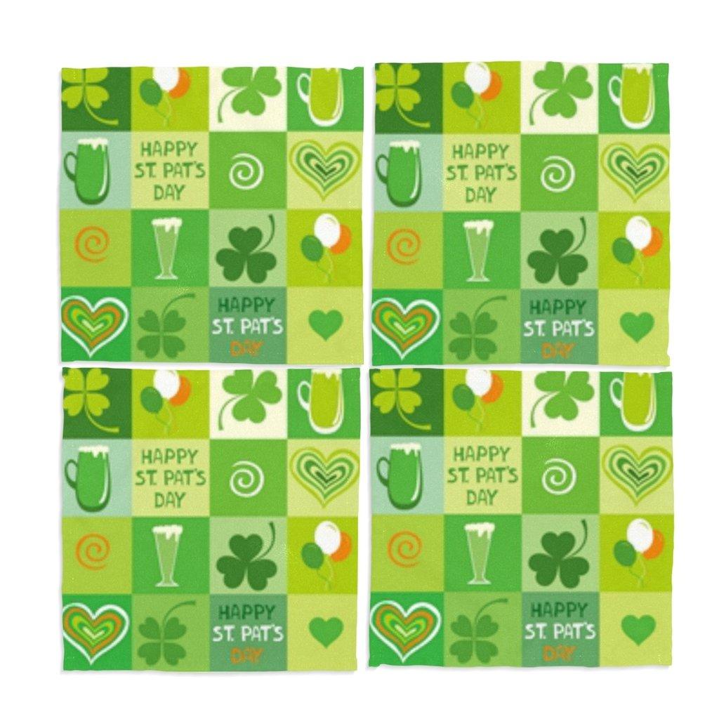 naanle PlaidビールHappy St Patrick 's Day Shamrock Washable Placemats 12 x 12インチのセット4 Placeマットのダイニングテーブル   B06XBBZ872