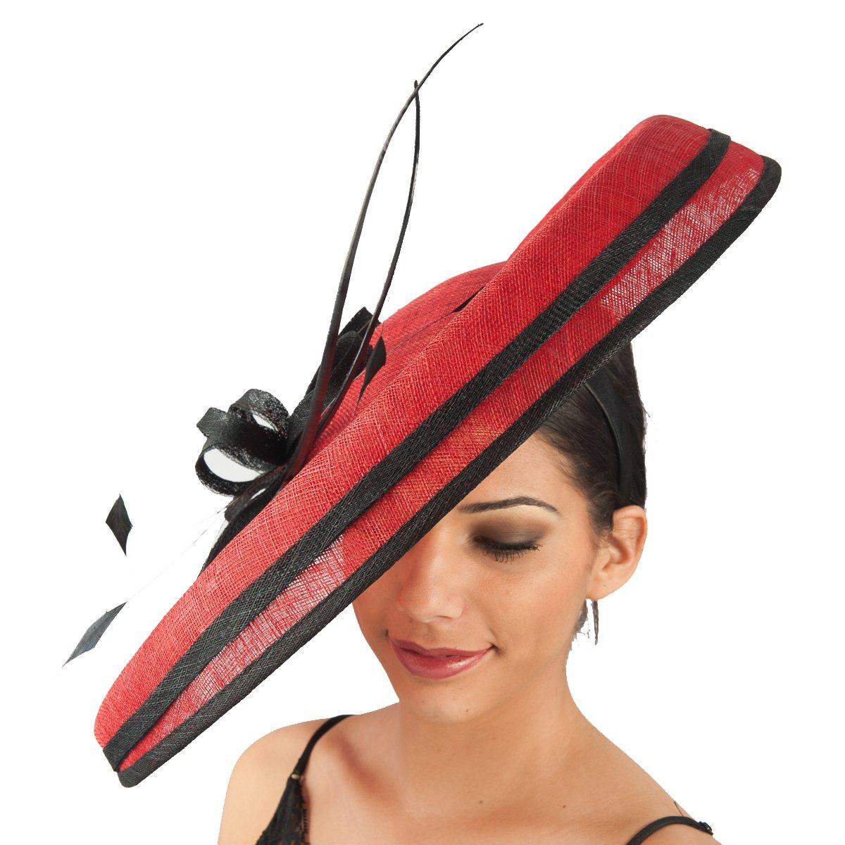 102033 - Sinamay Headband Fascinator - Red/Black by KaKyCo