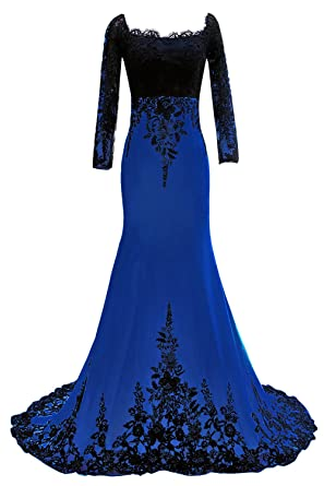 Ever Girl Womens Mermaid Long Evening Gowns Lace Prom Dresses with Sleeves Blue 2