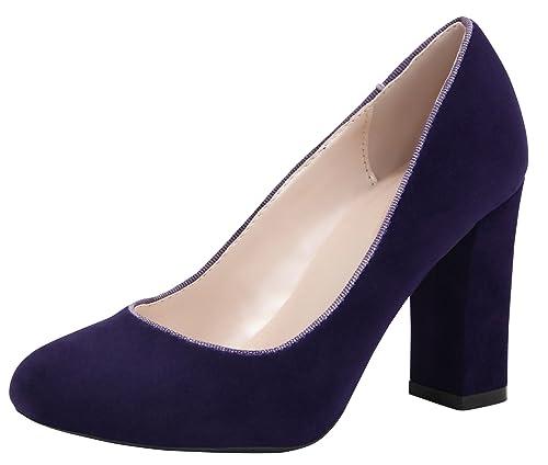 885edce9b75f4 Cambridge Select Women's Closed Round Toe Slip-On Chunky Block Heel Dress  Pump