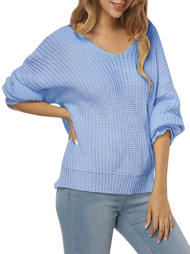Women s Casual Unbalanced V Neck Knit Sweater Loose Pullover Cardigan  d94082371