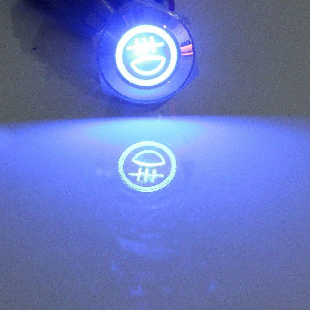 Supmico 16mm KFZ Kippschalter Wippschalter Schalter Drucktaster 12V Blau LED Licht Lampe Metall Fernlicht