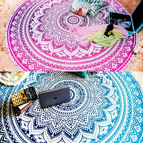 Set of 2 Round Mandala Blanket or Boho Beach Tapestry or Bohemian Decoration or Hippie Beach Blanket, Circle Tablecloth or Picnic Blanket, Indian Meditation Rug Mat for Yoga – 72 Inches, Blue and Pink