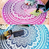 Set of 2 Ombre Mandala Round Tapestry Hippie Indian Mandala Roundie Picnic Table Cover Hippy Spread Boho Gypsy Cotton Tablecloth Beach Towel Meditation Round Yoga Mat - 72 Inches, Blue and Pink
