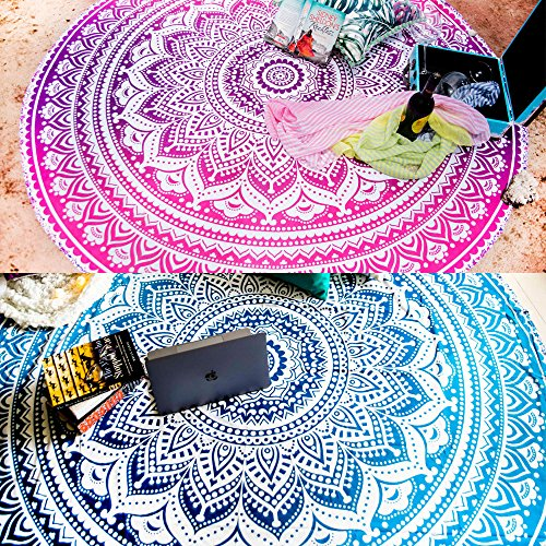 Set of 2 Ombre Mandala Round Tapestry Hippie Indian Mandala Roundie Picnic Table Cover Hippy Spread Boho Gypsy Cotton Tablecloth Beach Towel Meditation Round Yoga Mat - 72 Inches, Blue and Pink Beach Theme Coffee