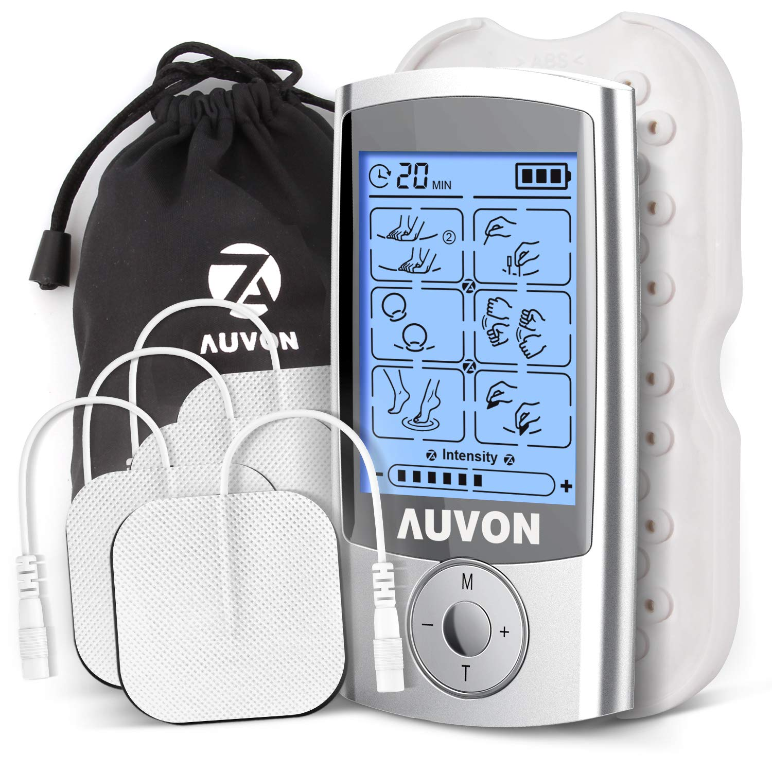 AUVON Rechargeable TENS Unit Muscle Stimulator (FDA 510K Cleared), 2nd Gen 16 Modes 2-in-1 EMS TENS Machine with Upgraded Self-Adhesive Reusable TENS Electrodes Pads (2''x2'') for Pain Relief
