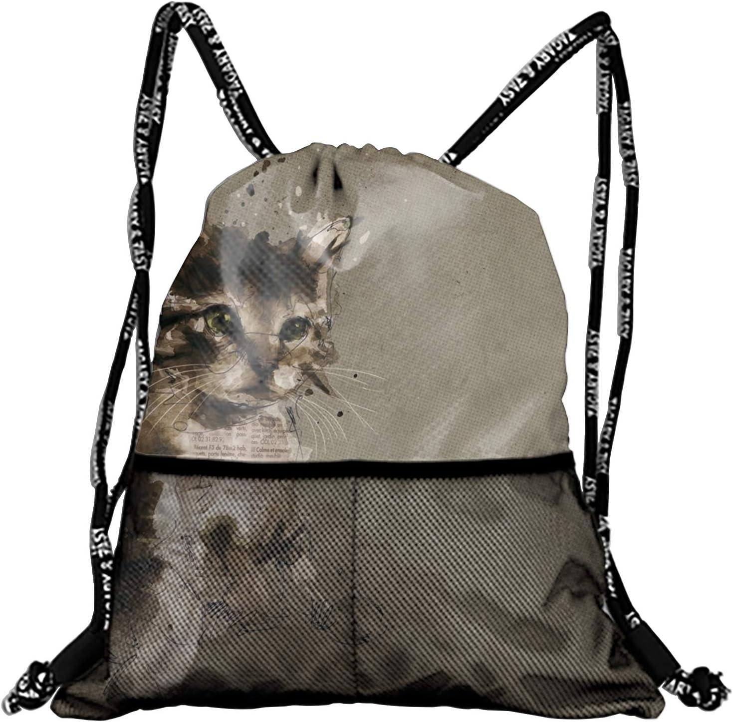 Men & Women Sport Gym Sack Cat Collage Drawstring Backpack Bag (White, Purple, Burgundy,Black,Navy Blue,Red,Blue)