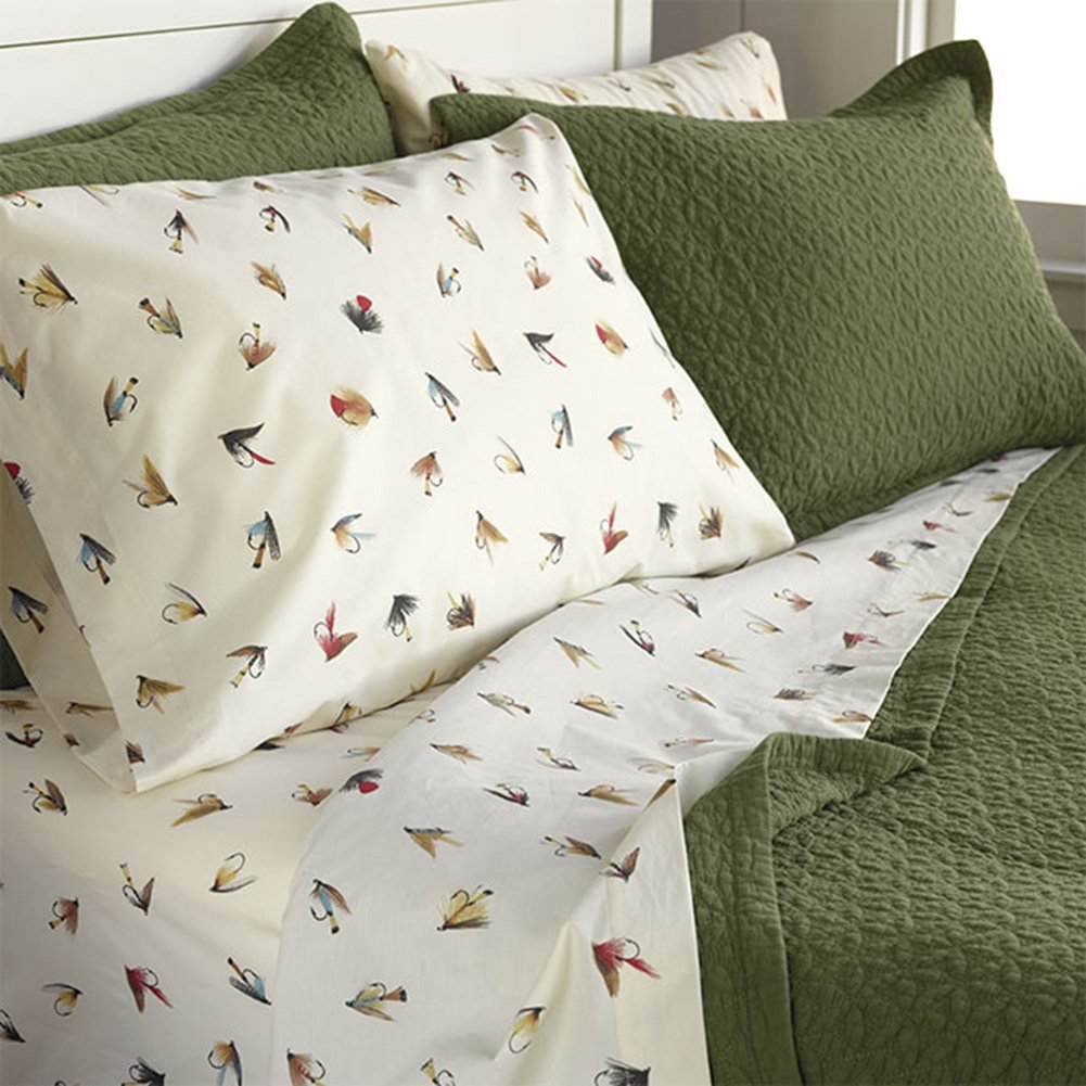 Orvis Marbury Vintage Flies Percale Sheet Set, Duvet Cover and Sham/Only King Sheet Set, King