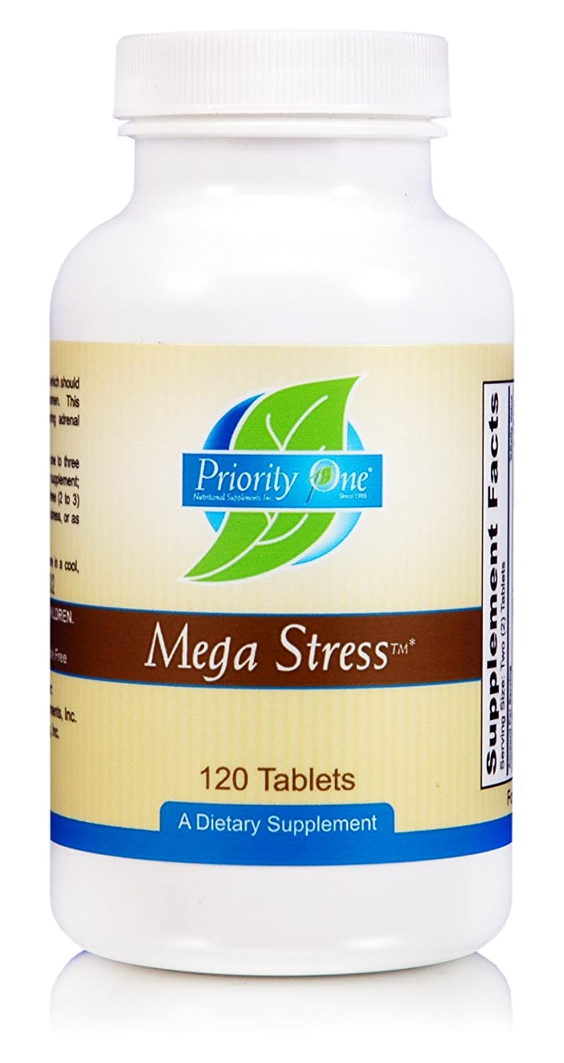 Priority One Vitamins Mega Stress 120 Tablets – High Potency B Vitamin Complex with The Benefits of Adrenal – Healthy Energy Production.*