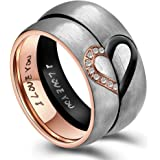 """6MM His & Hers For Real Love """"I Love You"""" Heart Promise Ring Stainless Steel Couples Wedding Engagement Bands"""