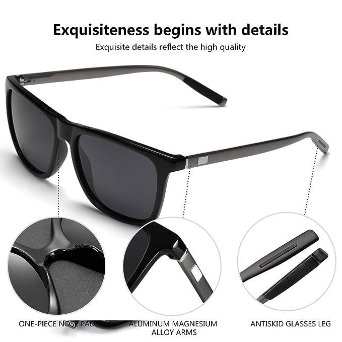2ab7b0c138e Amazon.com  Mens Retro Wayfarer Polarized Sunglasses UV protection  Sunglasses for men Black  Clothing