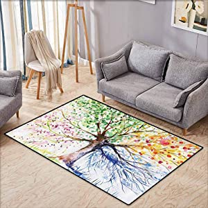"""Non-Slip Rug,Four Seasons,Berry Green Red Yellow Navy Brown Water Soap and Mildew Resistant Machine Washable,Ideal Gift for Children,3'3""""x5'3"""",Shower Hooks are Included"""
