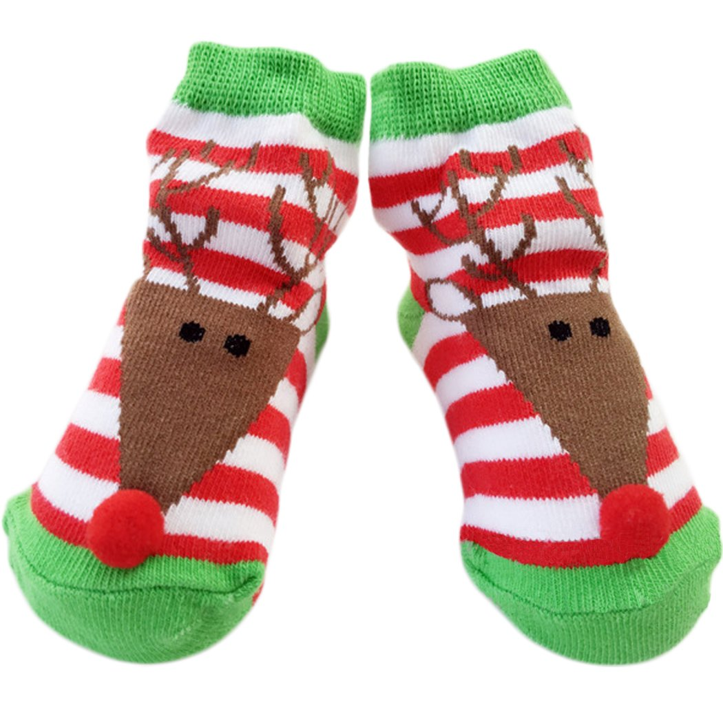 Sun Baby Christmas Socks Baby Warm Cotton Socks 0-12 Months Stripes Reindeer