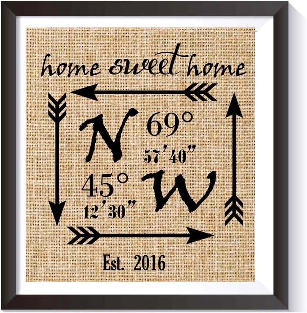 Home Sweet Home Burlap Print - Personalized Wedding Gift for Couple - Latitude Longitude Sign - Engagement Gift - Bridal Shower Gift - GPS Coordinates & Est. Date Burlap Wall Decor-burlap Print # 004