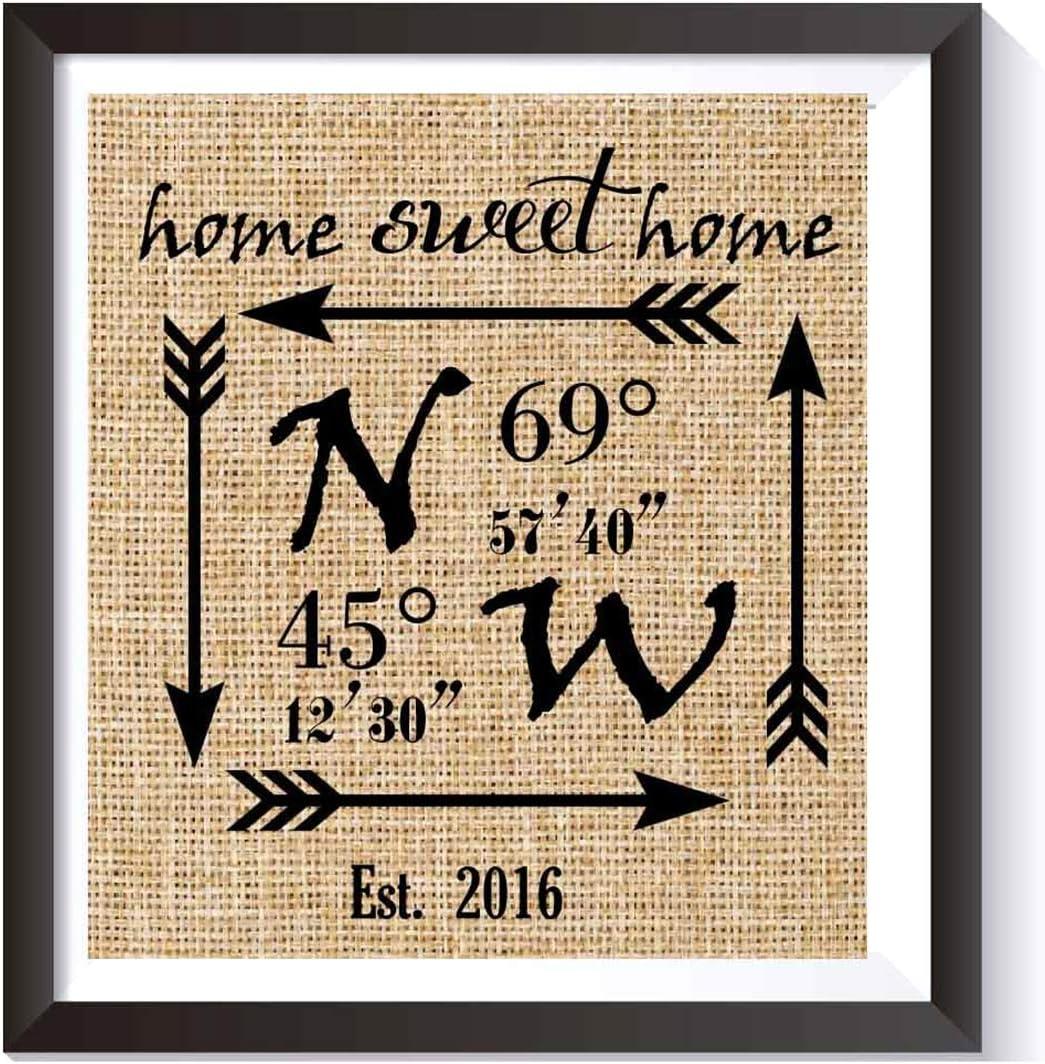 Home Sweet Home Burlap Print - Personalized Wedding Gift for Couple - Latitude Longitude Sign - Engagement Gift - Bridal Shower Gift - GPS Coordinates & Est. Date Burlap Wall Decor-burlap Print # 004