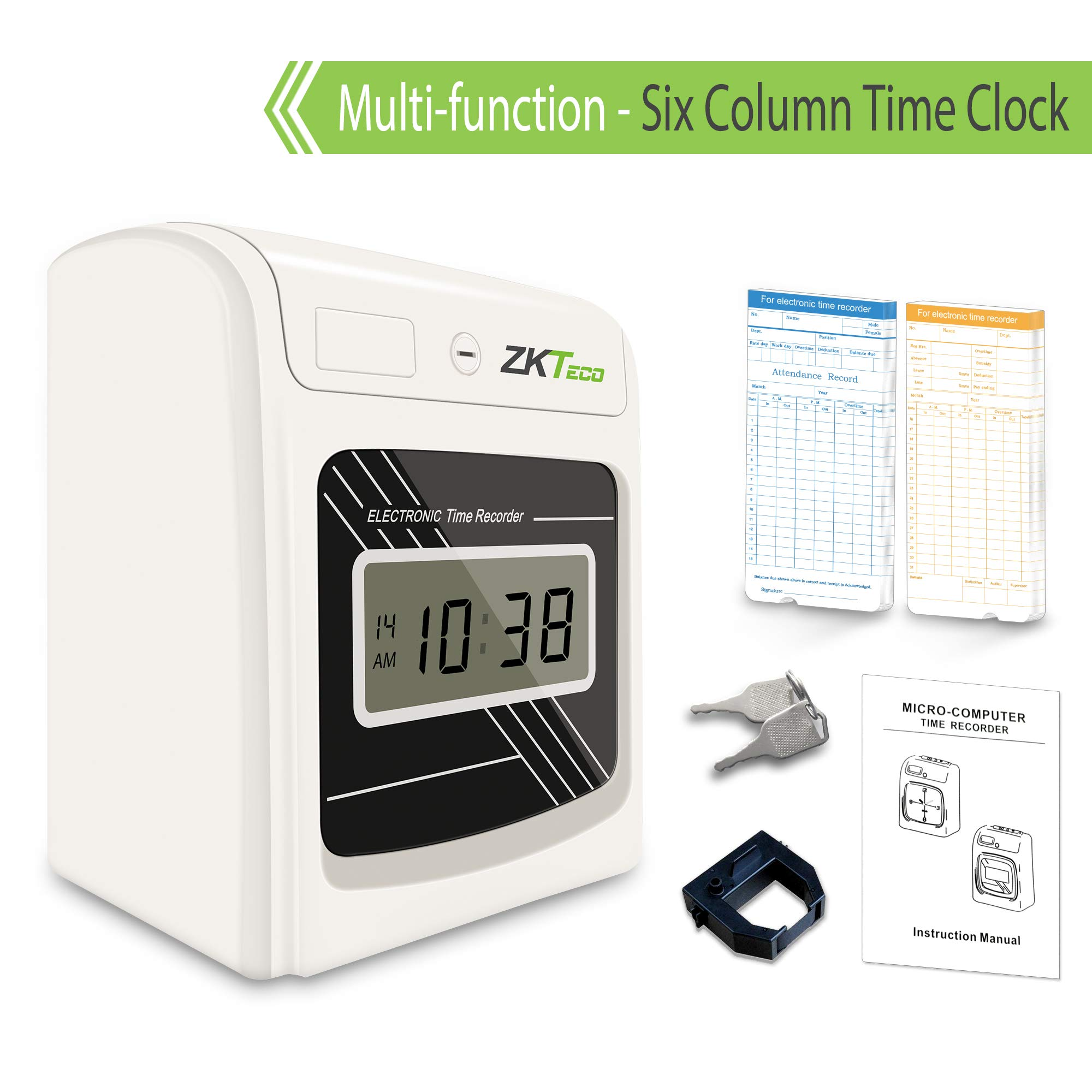 ZKTeco Time Clock for Small Business Punch Time Recorder Employee Attendance Payroll Recorder Bundle with 100 Cards,1 Ribbon,2 Keys,LCD Display with six Column PH601N by ZKTeco