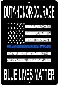 Wall Decor Sign Blue Lives Matter Flag Aluminum Metal Sign 8x12 INCH (W4037)