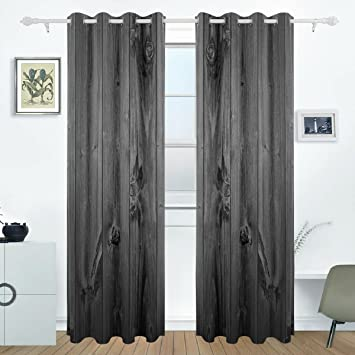 DEYYA Rustic Old Barn Wood Curtains Drapes Panels Darkening Blackout  Grommet Room Divider For Patio Window