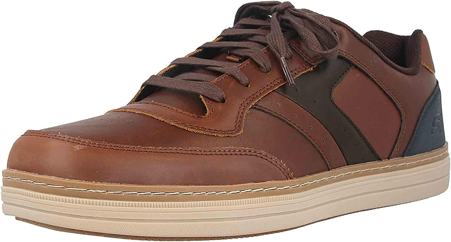 Skechers Herren Heston Sneaker Dark Brown Leather Dkbr