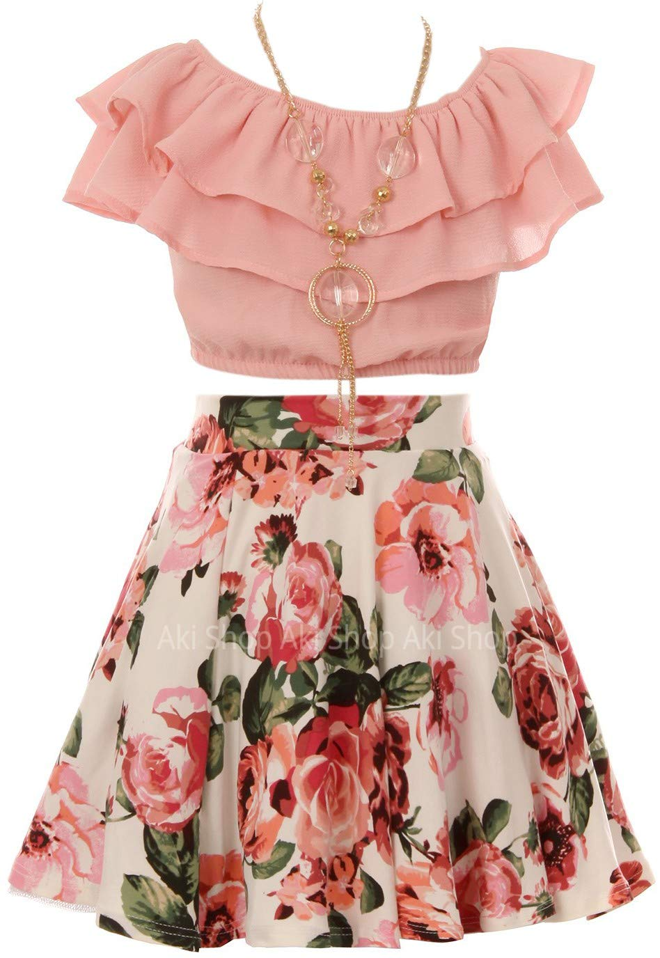 Cold Shoulder Crop Top Ruffle Layered Top Flower Girl Skirt Sets for Big Girl Blush 10 JKS 2130S by Aki_Dress (Image #2)