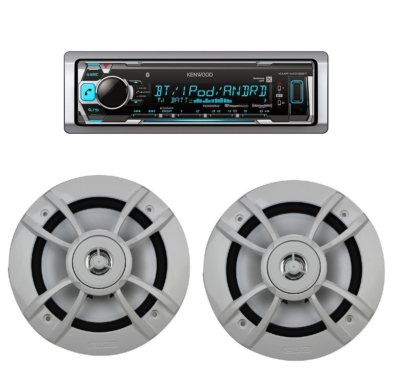 KMR-M318BT Marine Digital Media Receiver w/ Bluetooth With Kenwood KFC-1633MRW 6.5-Inch 100 Watt Max power 2-Way Marine Speakers (2Pairs) by CACHE, KENWOOD