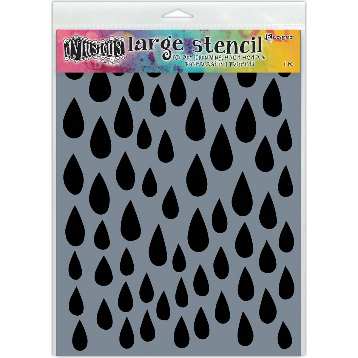 Ranger DYS52302 Dyan Reaveley's Dylusions Stencils 9''X12''Raindrops by Ranger