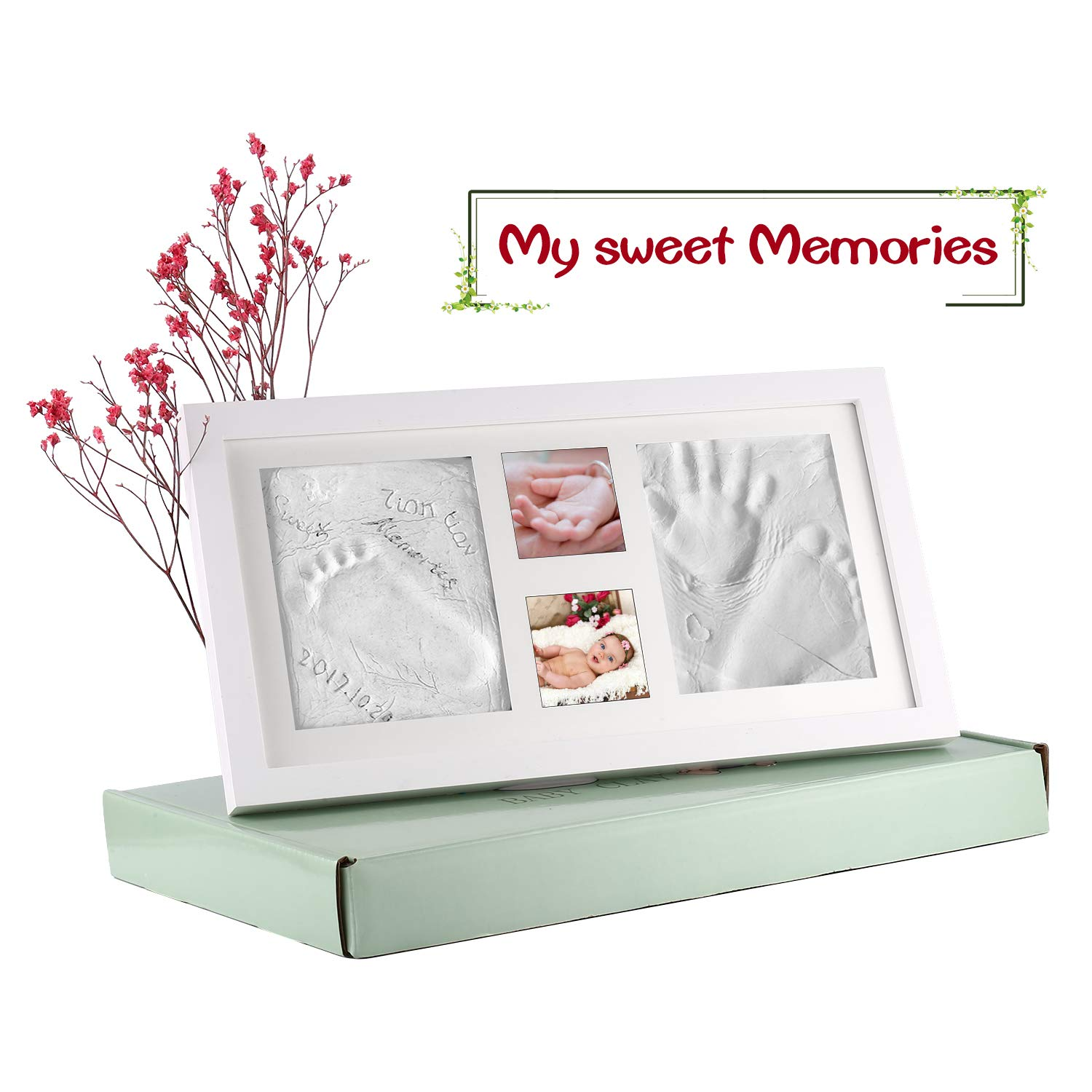 Baby Handprint and Footprint Imprint Set Wood Picture Frame with Plaster Print for Newborn Baby Shower Or Baptism Gift Size 41x23x2cm (White) Hoden