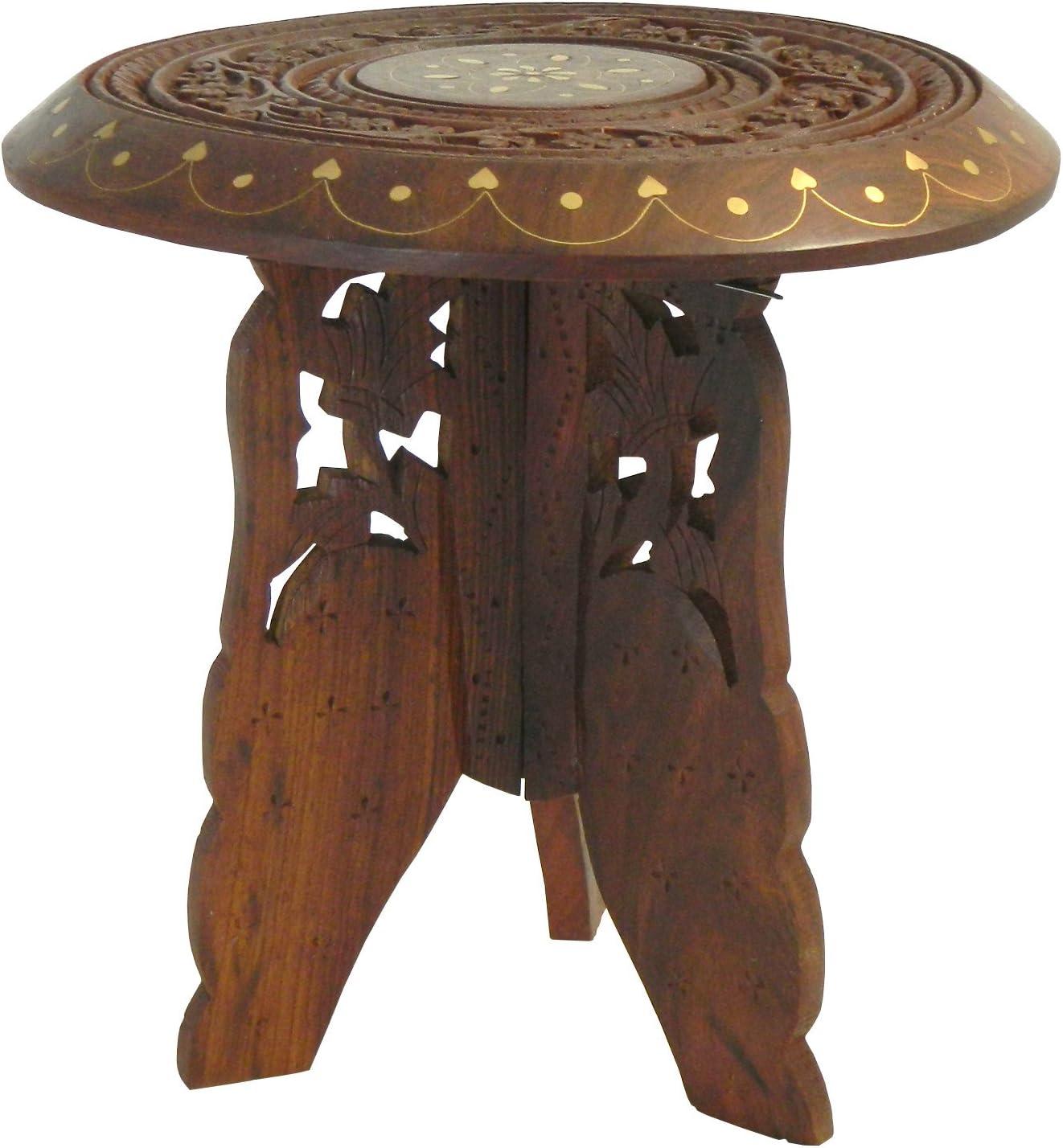 Table laiton Tabouret ensemble 22x23cm bois 2 Guéridon démontable Marqueterie console pièces 76gYbvIyf