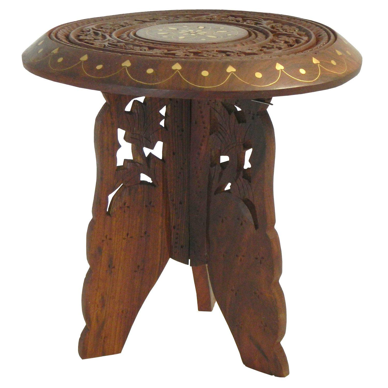 Guéridon démontable 22x23cm Tabouret bois Marqueterie laiton ensemble 2 pièces Table console indischerbasar.de klein